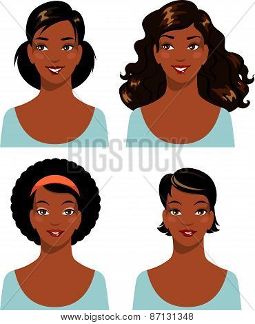 Set of african american ethnic beautiful woman