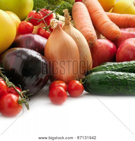 collection fresh fruits and vegetables isolated on white