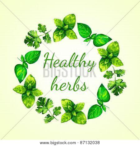 Realistic watercolor illustration herbs wreath