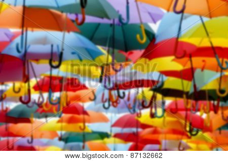 Umbrellas Blurred Background