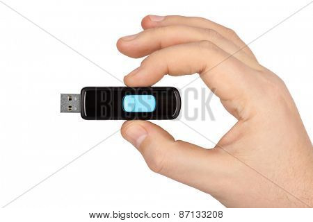 Flash usb memory drive in hand isolated on white background