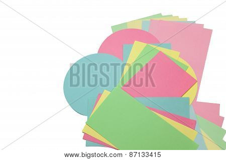 Rectangular And Circular Colored Papers Isolated