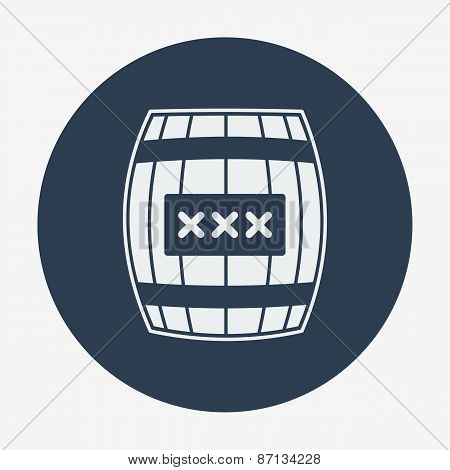 Pirate icon, cask or barell. Flat design vector illustration.