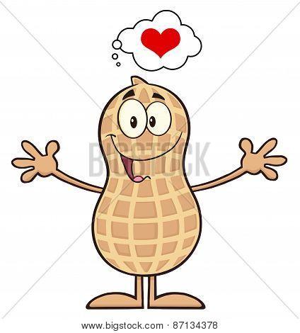 Funny Peanut Cartoon Character Thinking Of Love And Wanting A Hug