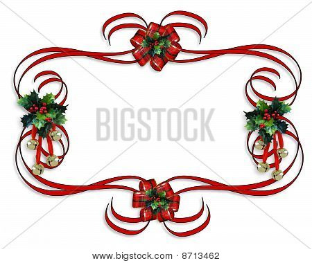 Christmas Border red ribbons