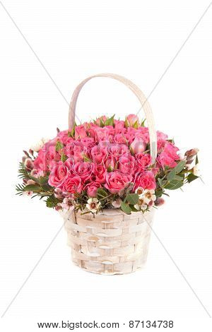 Beautiful Bouquet Of Pink Roses In Basket Isolated On White Background