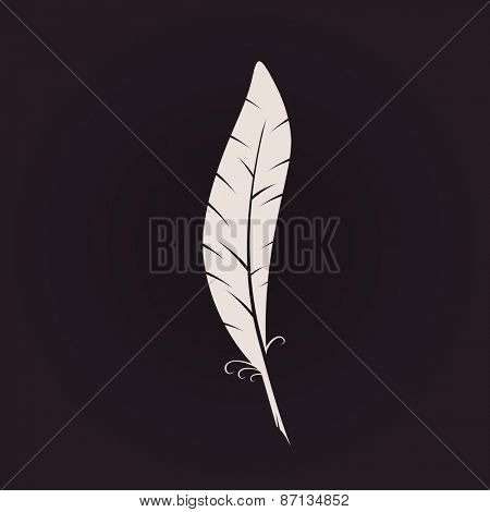 Feather sign icon. Retro Logo ink pen. Calligraphic logotype vector