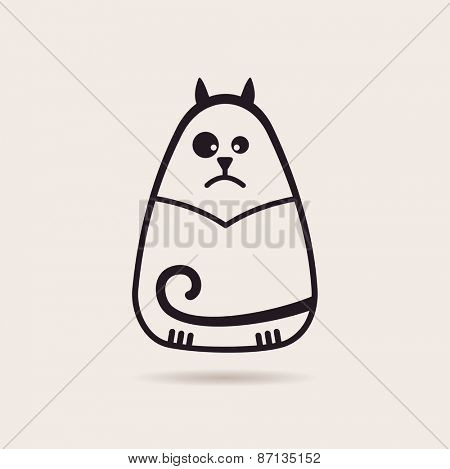 Vector symbol funny cat. Stylized drawing silhouette illustration