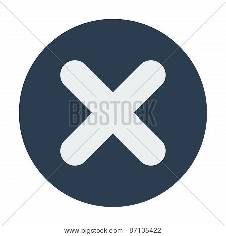 Single delete mark icon. Flat design vector illustration