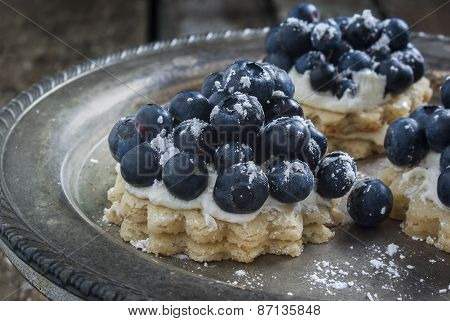 blueberry dessert on the table