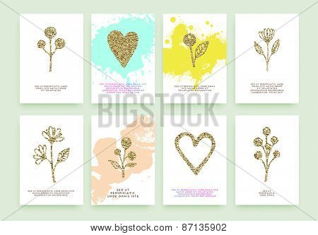 Set of Trendy Posters with Gold Glitter Texture Background. Modern Hipster Style for Invitation, Business Contemporary Design. Geometric Labels for Logo Design. Hand Drawn Floral Elements, Flowers