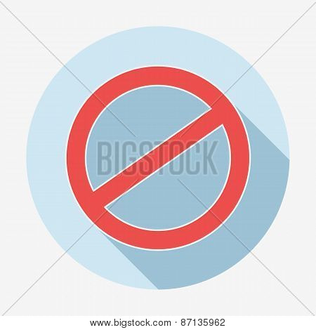 Single flat deny icon with long shadow. Vector illustration. Cancel icon.