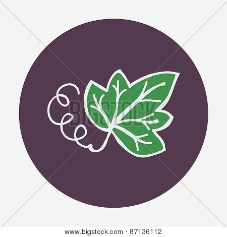 Hand-drawn icon with grape leaf. Vector illustration.