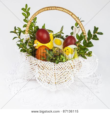 Eggs and food in Easter basket
