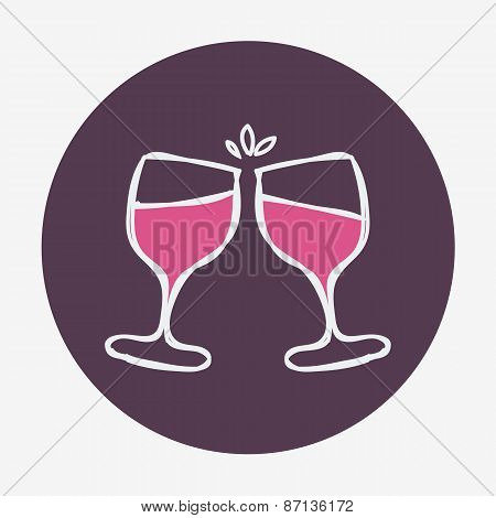 Hand-drawn icon with two wine glasses. Vector illustration.