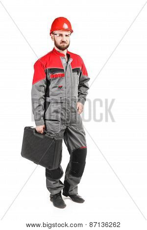 Man Wearing Overalls With Red Helmet With Toolkit On White Background