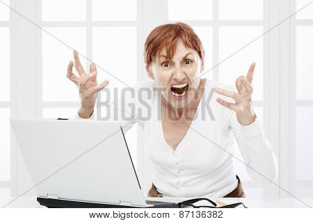 Sixty years woman angry about working problems