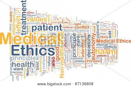 Background text pattern concept wordcloud illustration of medical ethics