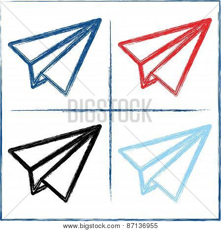 Hand drawn paper planes. Vector illustration