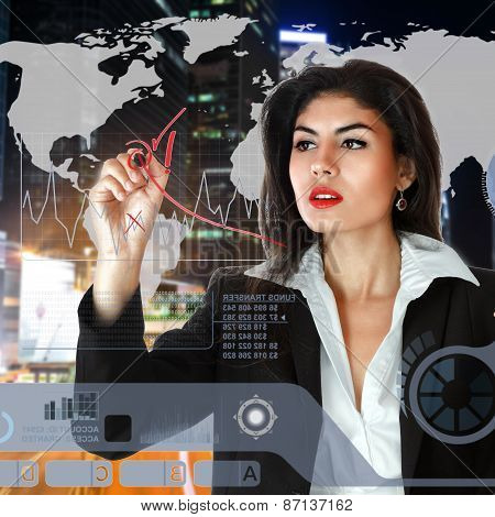 Young Businesswoman Working On Touch Screen