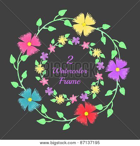 Floral watercolor frames