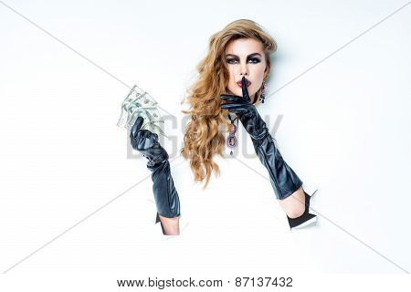 Woman With Curly Hair Holding Money