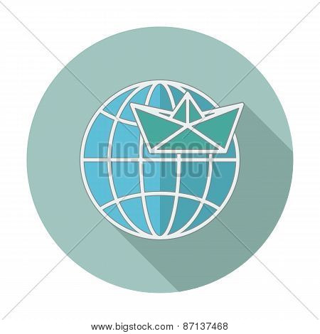 Flat icon with long shadow. Earth globe and ship. Vector illustration