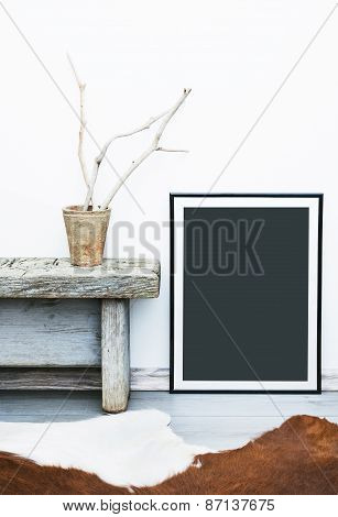 Black Frame With Place For Text. Mock Up.  Hipster Scandinavian Style Room Interior.