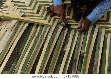 Weaving A Bamboo Mat