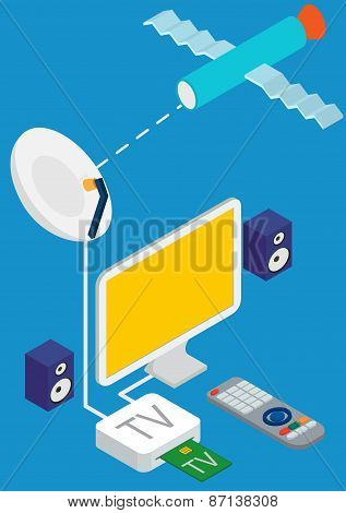 isometric concept of satellite TV broadcast.