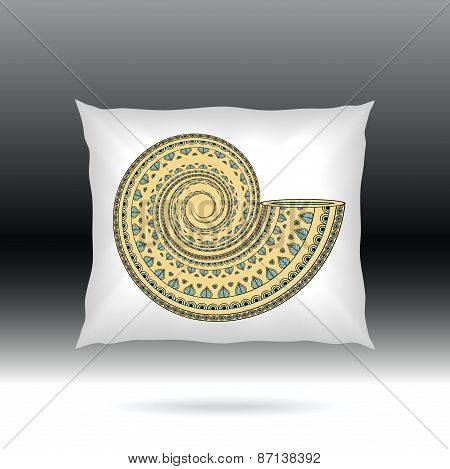 White Pillow with ornament shell