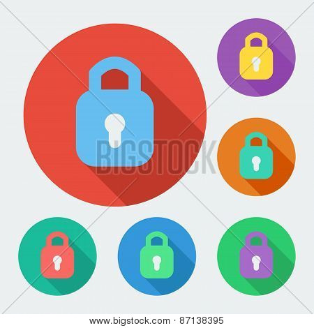 Flat style icon with long shadow, six colors, padlock vector illustration.