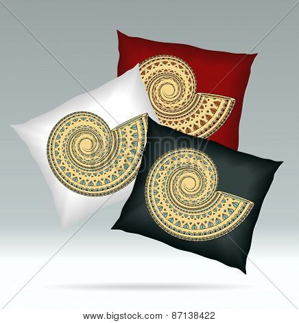 Set Pillows with ornament shell red white black colors