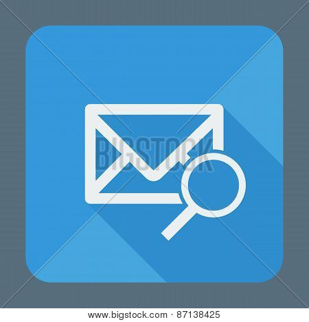Mail icon, envelope with magnifying glass. Flat design vector illustration.