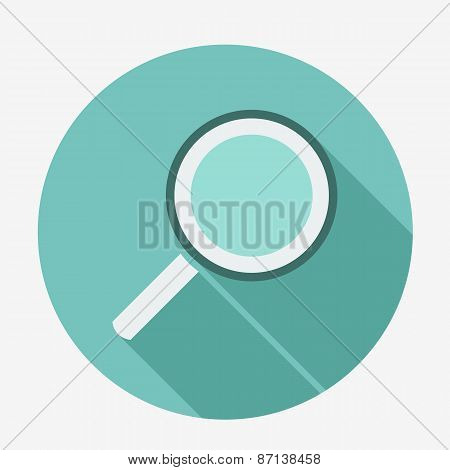 Single flat magnifying glass icon with long shadow. Vector illustration