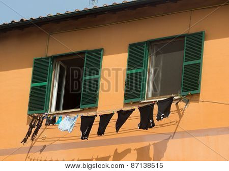 Underwear drying on the rope in Italy