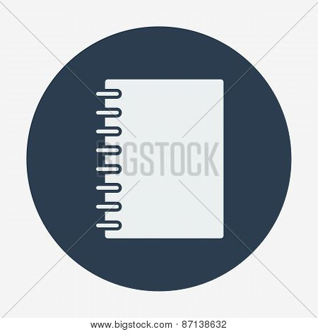 Flat style icon, notebook vector illustration.