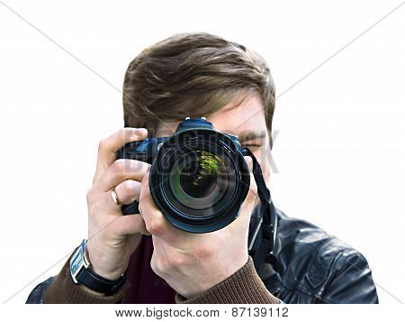 Photographer Takes A Picture. Front View, Close-up
