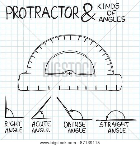 Hand-drawn protractor and angles. Vector illustration. Doodle style