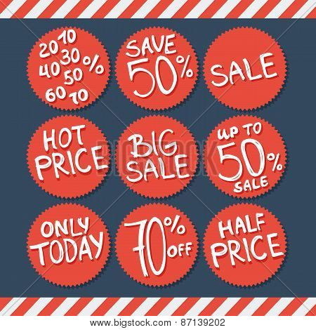 Sale labels and stickers with hand written text. Vector illustration.