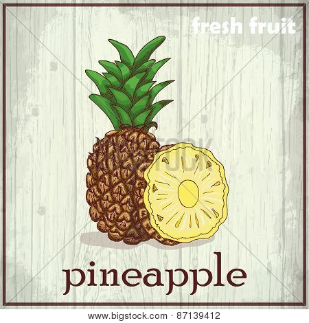 Hand Drawing Illustration Of Pineapple. Fresh Fruit Sketch Background