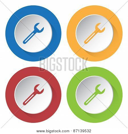 Set Of Four Icons With Spanner