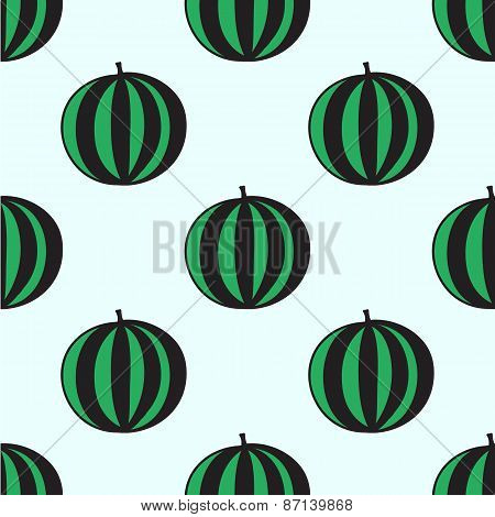 Seamless hand-drawn pattern with watermelon. Vector illustration.