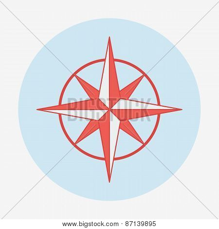 Pirate or sea icon, wind rose. Flat design vector illustration.