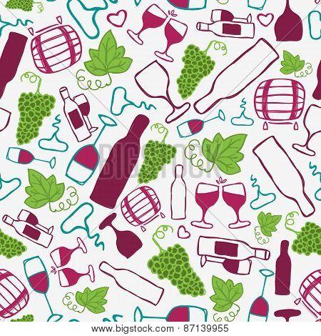 Hand-drawn seamless pattern. Vector illustration.  Wine theme