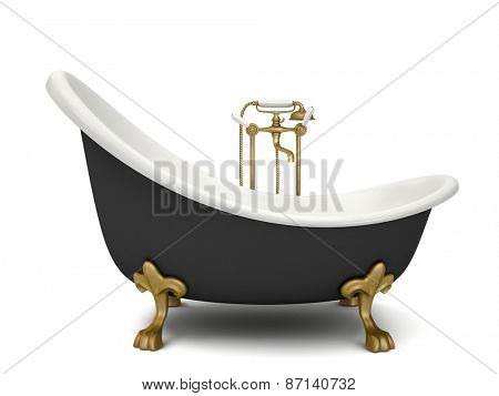 Modern bathroom isolated on white background 3D rendering