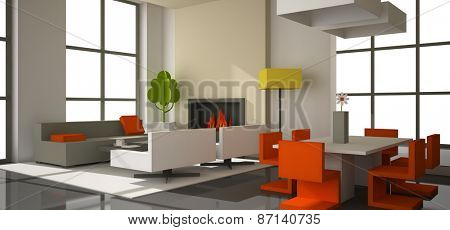 Fictitious interior of color paperboard 3D rendering