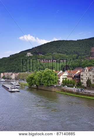 Barges In The River In Summer Heidelberg