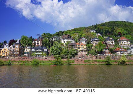 Landscape Of Quay Of Neckar River In Summer Heidelberg