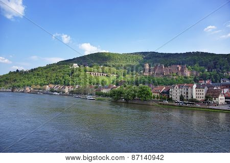 Quay And Barges In The River In Summer Heidelberg